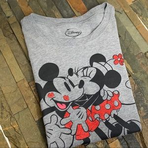 DISNEY Gray Minnie and Mickey Mouse Crew Neck Tee